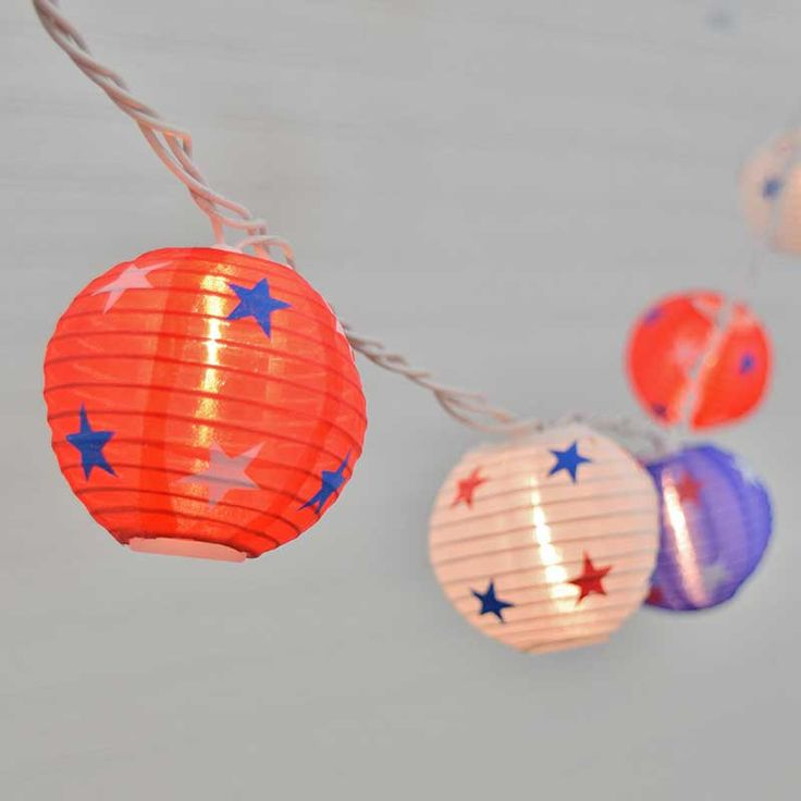 Blue Lantern String Lights : Decorate for the 4th of July with Patriotic Lantern party lights. These lanterns are made out of ...