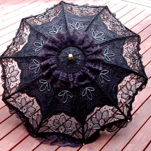 Black Hand-Beaded Battenburg Lace Parasol Goth EGL Steampunk OOAK