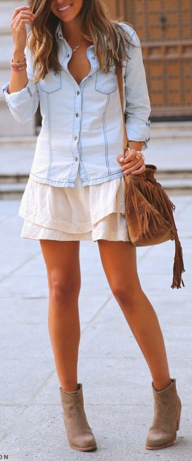 chambray + skirt + ankle boots