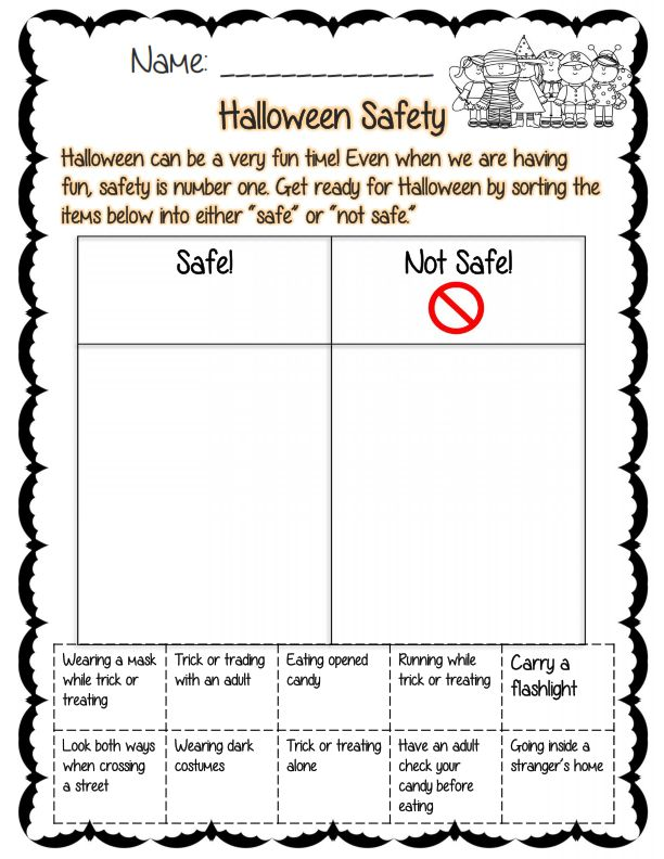 halloween safety sorting activity comes with 22 other pages education pinterest safety. Black Bedroom Furniture Sets. Home Design Ideas