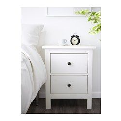 IKEA - HEMNES, Chest of 2 drawers, white stain, , Made of solid wood, which is a hardwearing and warm natural material.The drawer insert is perfect for small things.Smooth running drawers with pull-out stop.Can also be used as a bedside table.