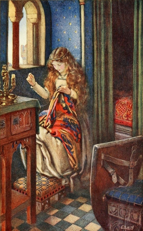 Eleanor Fortescue-Brickdale (English artist) 1872 - 1945, Elaine, ca. 1913, watercolour, book illustration, New York Public Library, United States of America. Eleanor Fortescue-Brickdale created these illustrations for Tennyson's Idylls of the King, published by Hodder & Stoughton in 1913.
