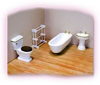 Complete Your Doll House With The Deluxe Doll House Bathroom Furniture!  Wooden Doll