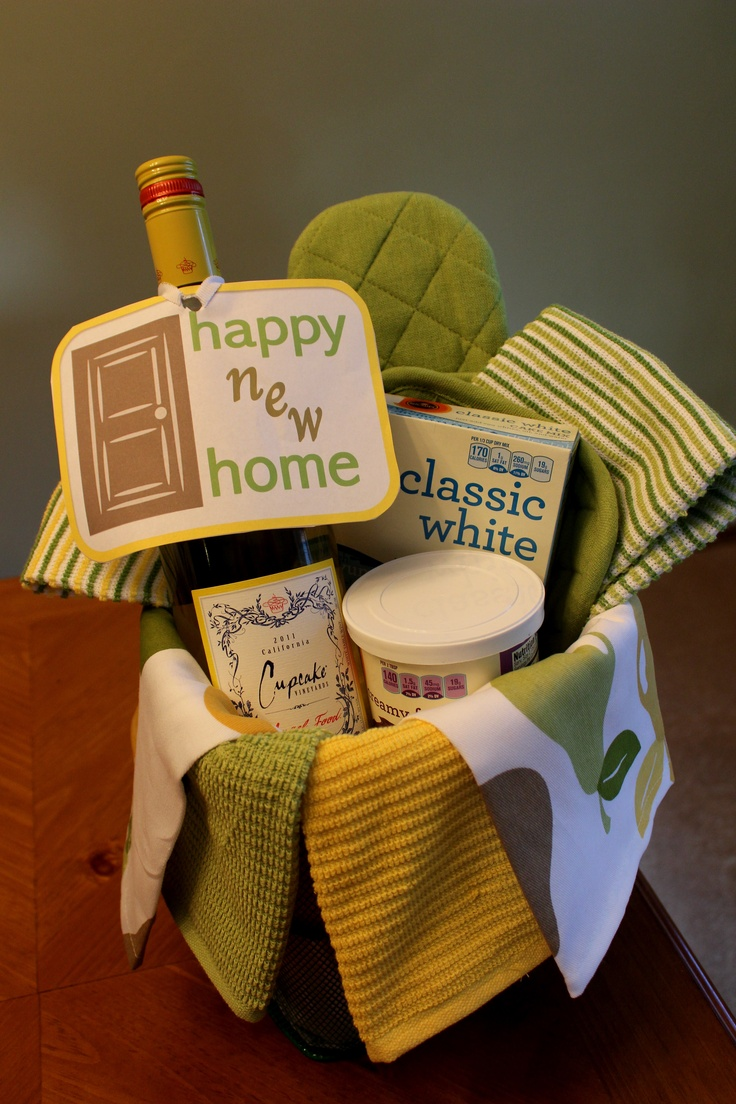 Housewarming gift idea- my first pin that I actually made! Inside basket is  several. Housewarming BasketHousewarming PartyWrapping IdeasGift ...