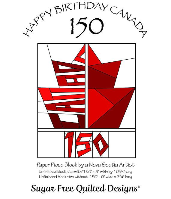 Celebrate Canadas 150th Birthday with this paper pieced block pattern. Pattern includes instructions to complete a 9 wide x 10 3/8 block (with 150)  or 9 wide x 7 3/4 block (without 150).  This patriotic block becomes a beautiful decorative cushion or wall hanging. It works well with a 13 x 20 pillow form by adding the red, vertical strips along the sides. This listing is for an Instant Digital Download (pdf file) only and does not include the materials to construct the block.  This...