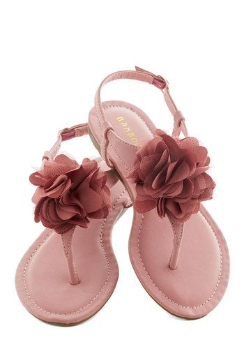 My Berry Amour Sandal - Pink, Solid, Flower, Wedding, Daytime Party, Bridesmaid, Fairytale, Summer, Flat, Faux Leather, Pastel