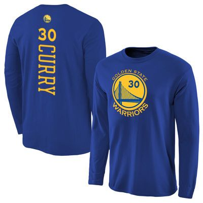Men's Golden State Warriors Stephen Curry Royal Backer Long Sleeve T-Shirt - NBA Store