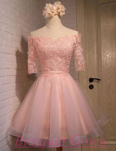 Pink Homecoming Dress,Half Sleeve Homecoming Dress,Lace Homecoming Dress,Dream…