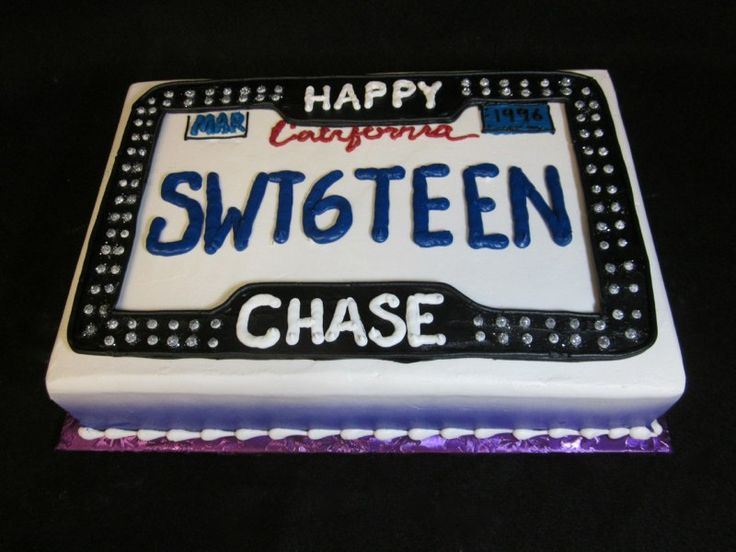 Sweet 16 License Plate Cake Birthday Cakes Pinterest