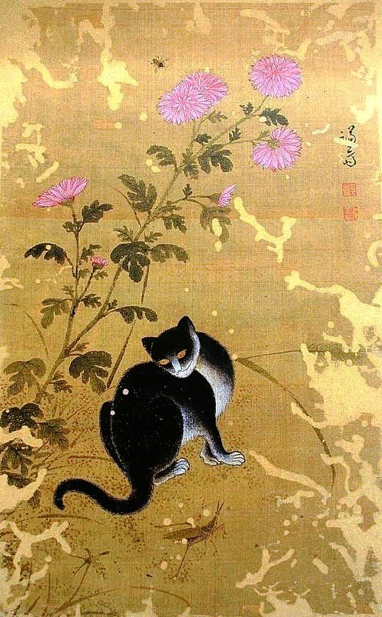 Korean art; Jeong Seon Chuil hanmyo. Free cat on an autumn day. Image of cat with pink chrysanthemums and grasshopper.