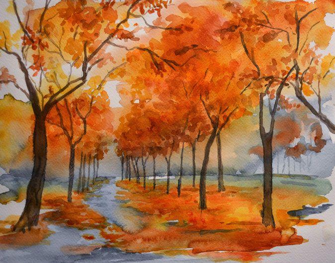 Aquarell Aquarellbild Wege Durch Den Herbst Proportionen In Der