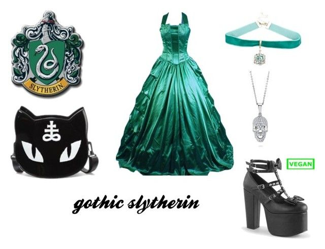 """""""gothic slytherin"""" by marauderslife on Polyvore featuring Killstar, Demonia, Warner Bros. and BERRICLE"""