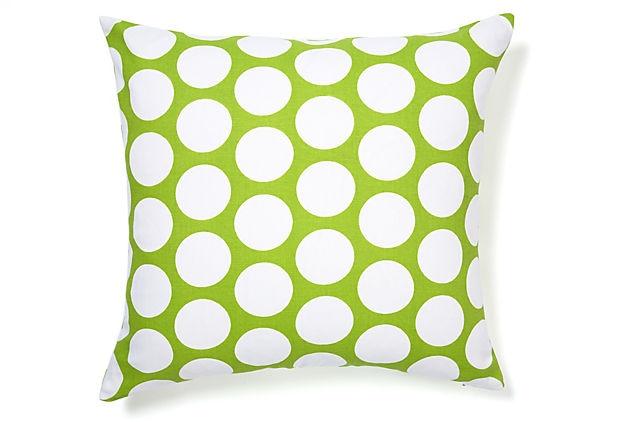 Polka Pillow: Polka Dots Cool, Beds Or, Polka Pillows, Groene Polkadots, Sunrooms Sofa, Dunes Ideas, Big Dots, Basements Maybe, Dots Pillows