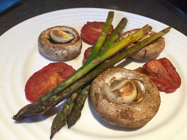 Balsamic Roasted Vegetables Serves: 1 Ingredients: 4 asparagus spears 1 tomato, quartered or thick slices 3 small button mushrooms 1 clove garlic, finely grated and chopped 1 tablespoons balsamic v…