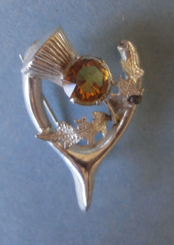 Thistle & Citrine SS Vintage Celtic Horseshoe  Brooch WBS Silver Pin