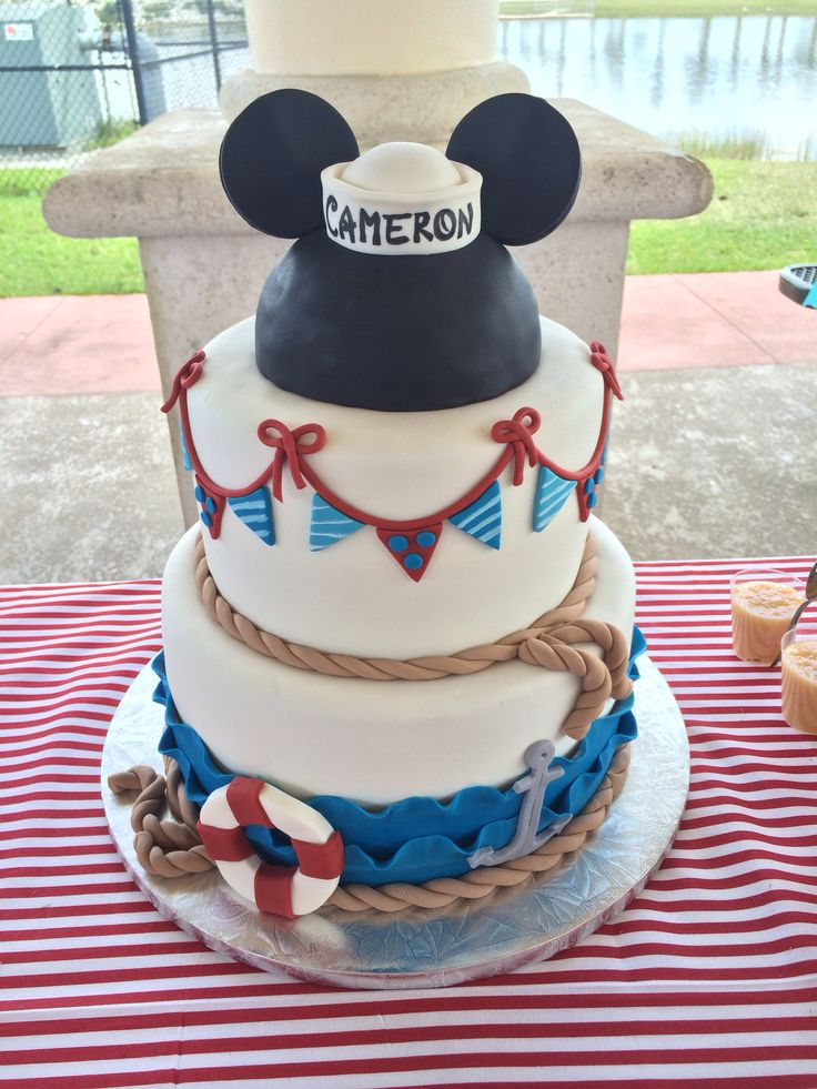 Mickey Mouse Nautical Sailor Birthday Cake @hermajestyscakes HMcupcakes.com MIAMI, FL