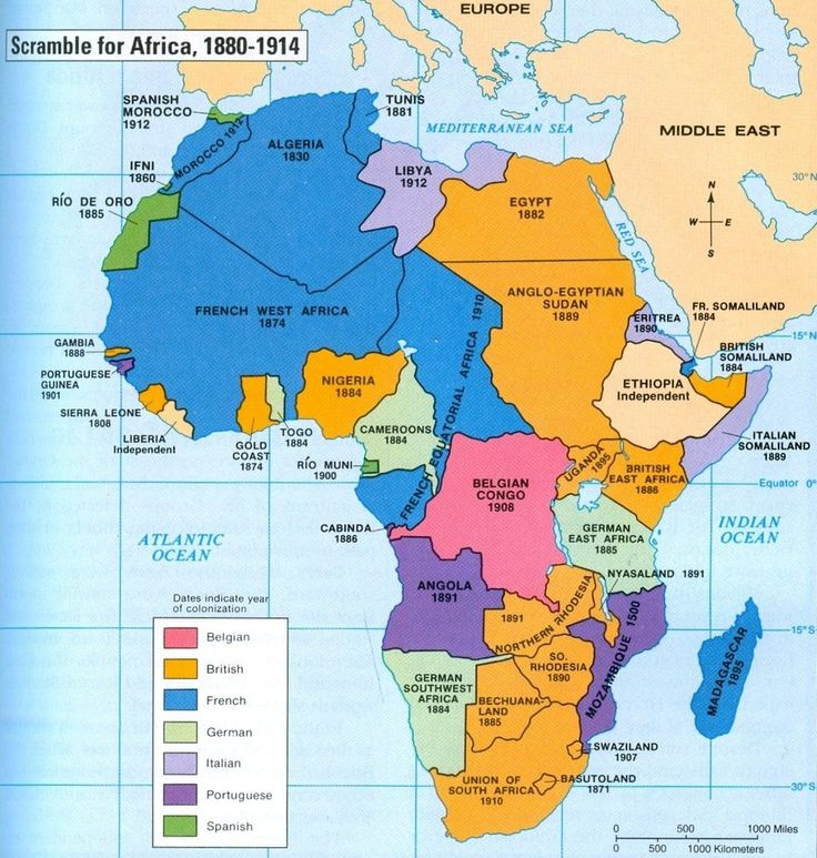 Map of colonized Africa, 1880-1914. Important for teaching Chinua Achebe's Things Fall Apart