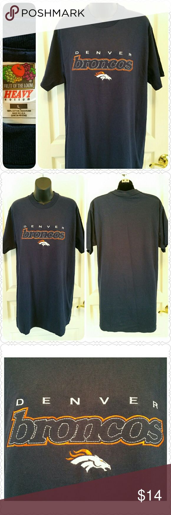 """NEW Denver Broncos t-shirt, embroidered logo Brand new without tag, no flaws * Denver Broncos t-shirt  * Embroidered logo * Color:  Navy blue * Size:  Large  * 100% pre-shrunk cotton  * Brand:  Fruit of the Loom  * 19"""" shoulders  * 41"""" chest  * 31"""" length shoulder to hem  * Non-smoking home  * Thanks for visiting my closet!  Aurora33180 Fruit of the Loom Tops Tees - Short Sleeve"""