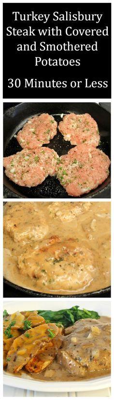 Easy Turkey Salisbury Steaks - Salisbury Steaks using ground turkey, a little bit of parsley, onions, milk and panko. Recipes, Food and Cooking
