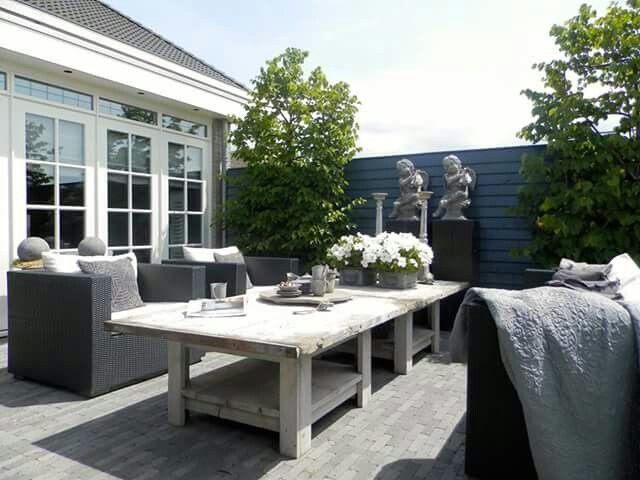 Meer dan 1000 idee n over pallet tafel buiten op pinterest pallettafels buitenpallet en palleten - Decoratie jardin terras ...