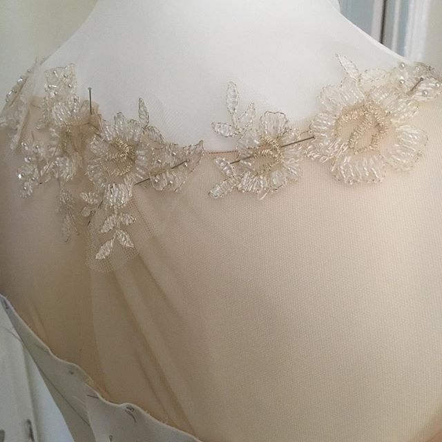 A hint of a toile were working on for exhibiting at the wedding show on 25th February at Ashridge House hosted by @luxuryweddingshow The beauty of bespoke is that at this stage of the design process you can see your ideas really coming to life but also make any changes if youve changed your mind #lesleycutlerbridal #wedding #weddingdress #bride #bridetobe