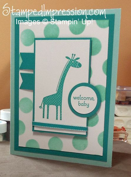 Welcome Baby with this cute giraffe!. Made with Zoo Babies stamp set from Stampin' Up!