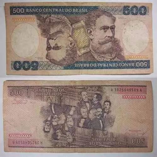 nota deodoro da fonseca cr$ 500 cruzeiros ano 70 80 81 82 83