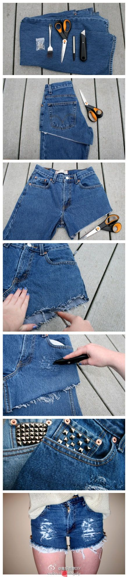 Jeans to shorts DIY. Lovebthe rough denim effect!