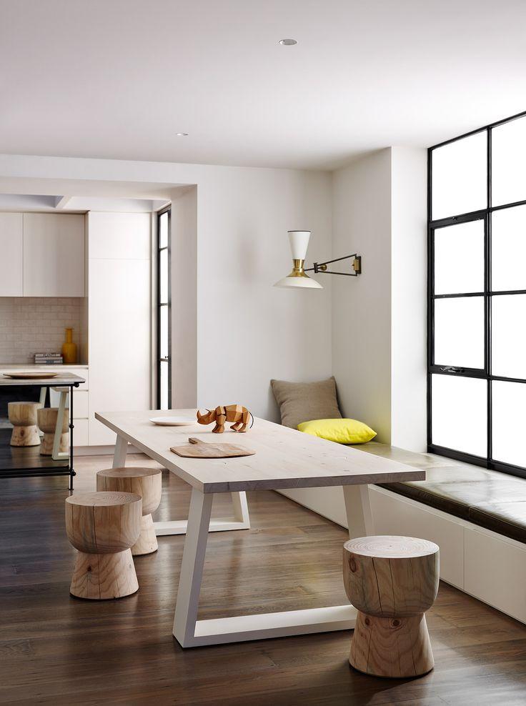 modern dining room with wood stools via @citysage