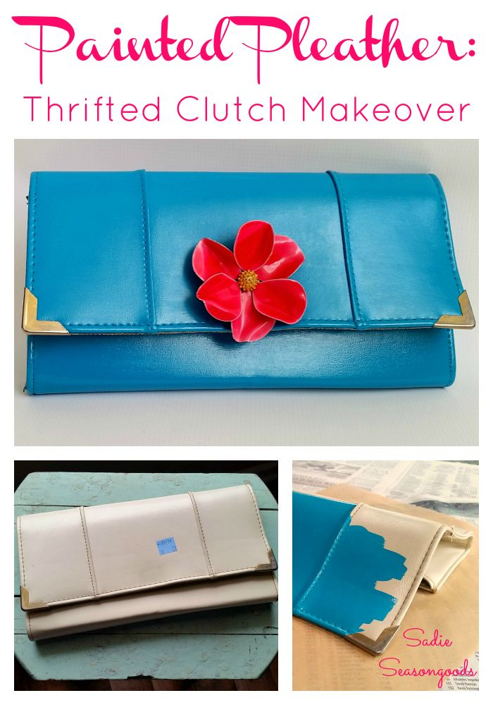 An inexpensive vintage pleather clutch purse gets a refreshing makeover with some bright turquoise leather paint and an antique enameled flower brooch. Love this thrift store makeover! #SadieSeasongoods