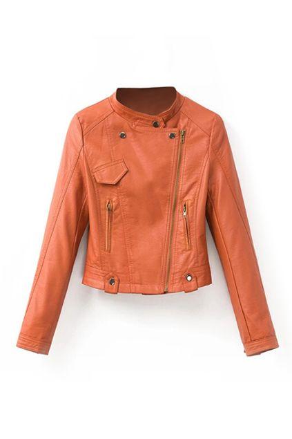 Oblique Zippers Slim PU Jacket 37.17