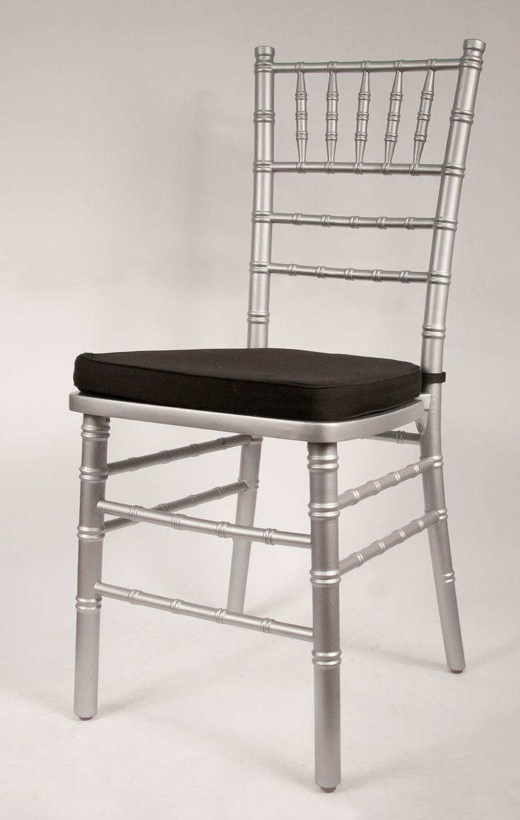 Silver Chiavari Chair Frame By Vision Furniture Featuring Black Cushion With Velcro