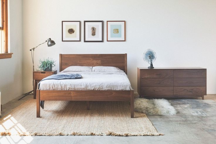 Solid Walnut Berkeley Bed Frame and Headboard - Available in other woods by hedgehouse on Etsy https://www.etsy.com/listing/171157796/solid-walnut-berkeley-bed-frame-and