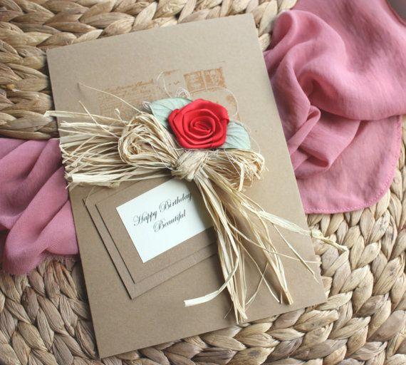 Shabby Chic Handmade Card Birthday Card Girlfriend Card
