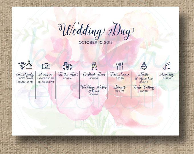 Wedding Order Of The Day: Wedding Timeline, Custom Wedding Program, Printable Order
