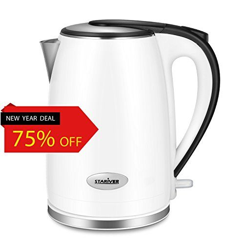 Stariver Electric Tea Kettle Stainless Steel Double Wall with 2.0 Liter Capacity - Package Include Egg Separator Worth 3.49 USD(Random Giveaway) - Version Upgraded - ★Specifications Capacity: 2.0 Liter Rated Power: 1000WRated Voltage: 110V, 60Hz Kettle Weight: 2.8 Pounds Dimensions: 6.3 x 8.5 x 8.9 inches★ Notice● Wipe exterior with a damp cloth. ● Avoid fill water above the MAX line.● Avoid using harsh detergents, abrasive ...