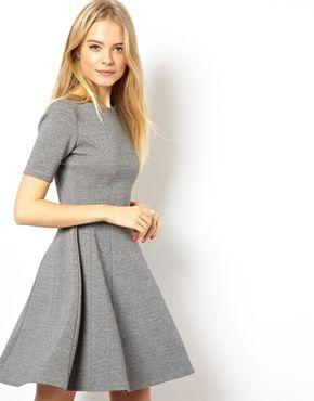 ASOS Structured Skater Dress In Rib £35