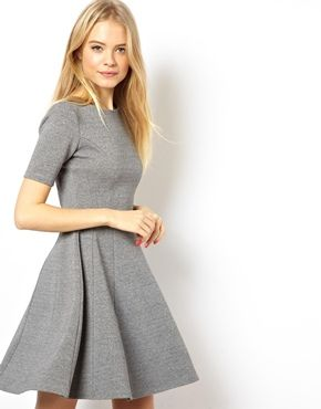 ASOS Structured Skater Dress In Heavy Rib. Winter work dress. Great with a jeweled tone scarf.