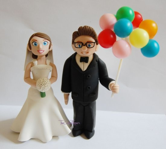 Disney UP Carl and Ellie with Balloons Wedding Cake Topper - I WANT this - but I don't want to spend 130 bucks on a cake topper...