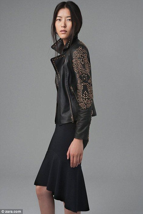 Get some biker chic with this gold studded leather jacket, GBP239, and  mermaid studio