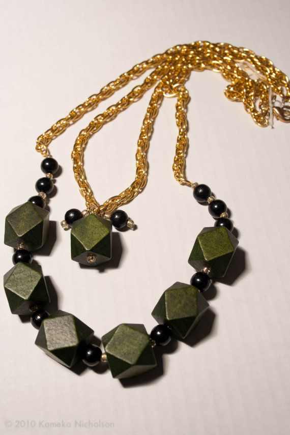 Green Chunky faceted wooden beads with 9mm by ElizabethsPearlz, $16.95