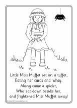 Little Miss Muffet colouring sheets (SB4266) - SparkleBox