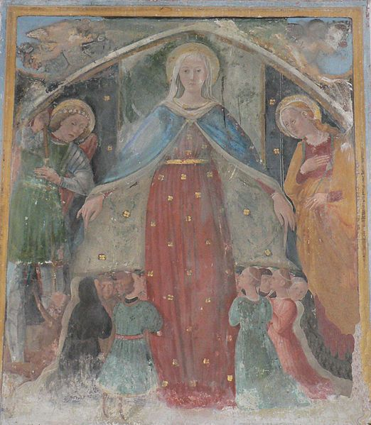 Giovanni Angelo d'Antonio da Bolognola - Madonna della Misericordia - 1468 - affresco - Chiesa di Santa Maria del Soccorso, Villa di Montalto, Italy