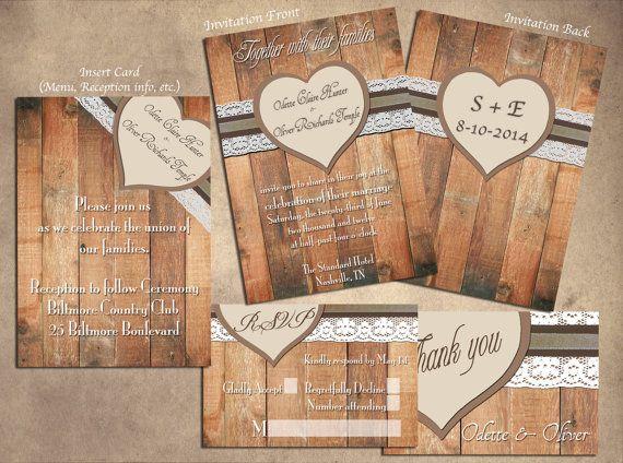 Rustikale Hochzeit Einladungen - natürliche Barn Holz Hochzeit Einladung Set - druckbare Design Download