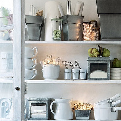 Fairy light accents in open shelving display - from braebourn farm