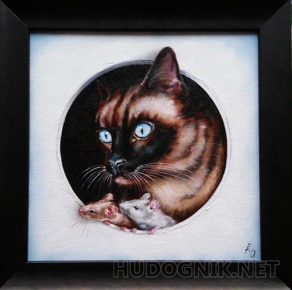 """Что там? Для всех любителей сюжетных картин! И кот и мышки очень и очень заинтересованы чем-то и смотрят влево...А что там?...      Может там удачно расположена другая картина, герои которой смотрят на наше трио?      Кот и мышки будто появляются из окошка темноты на свет вашей комнаты..       Картины с животными - это картины с особой душой...Они - """"живые""""...Такие картины имеет смысл """"собирать"""", составляя композицию из нескольких работ с разными животными...  ВНИМАНИЕ! При заказе этой…"""