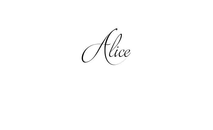 Tatuagem do nome Alice utilizando o estilo Brotherhood Script Regular
