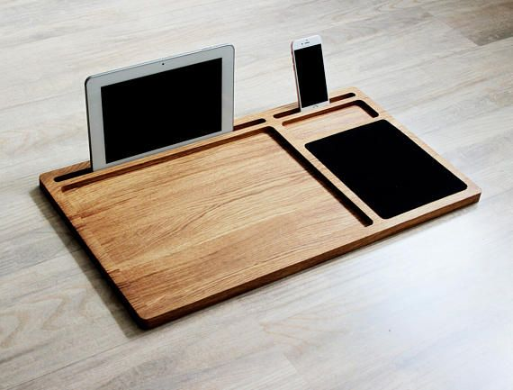 Portable laptop desk Oak wood lap tray with tablet & phone #wood #office #officedecor #giftsforhim #menstyle #mens #woodworking #woodcarving #gifts