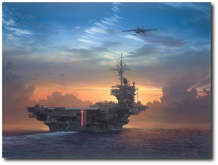 AVIATION ART HANGAR - Sunset Recovery by William S. Phillips (F-14 Tomcat)