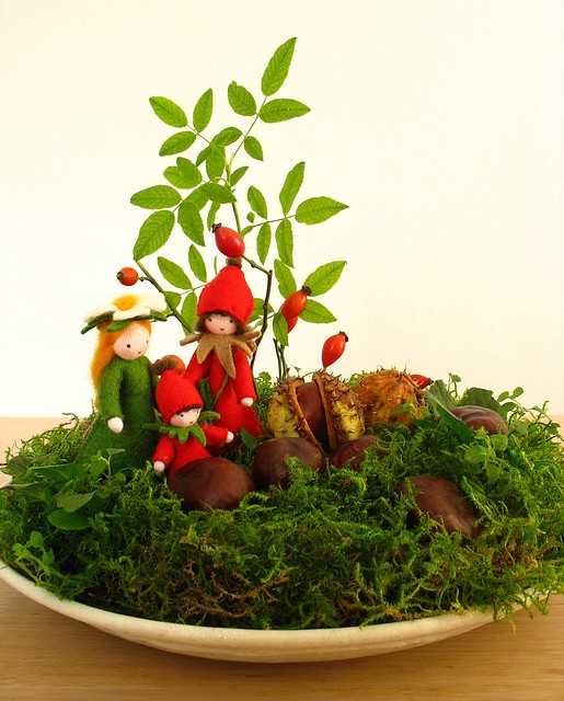 Nature Table September - The little dog rose family is doing a walk in the warm autumn sun.
